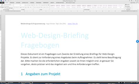 Design Pro Vorlage Erstellen Web Design Briefing Word Vorlage Mit Choice Uid Designstudio