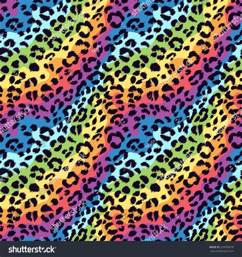 leopard color seamless vector bright colors leopard pattern stock vector
