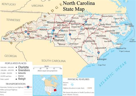 Search Nc Carolina State Map A Large Detailed Map Of Carolina State Usa