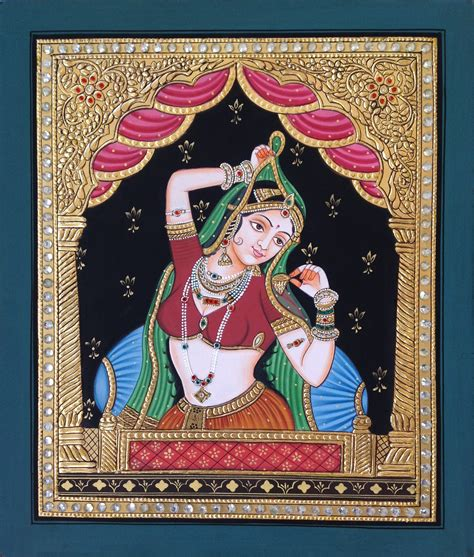 Handmade Wall Hangings Indian - tanjore rajasthani rani painting handmade indian thanjavur
