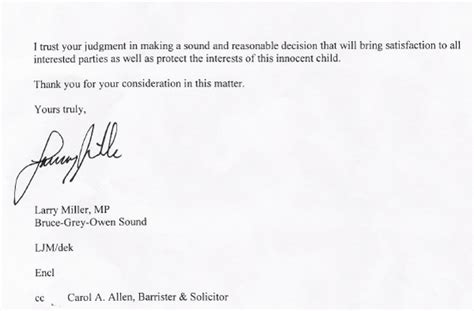 Divorce Letter To Parents In Larry Miller Mp Lobby Letter To Judge Superior Court Owen Sound