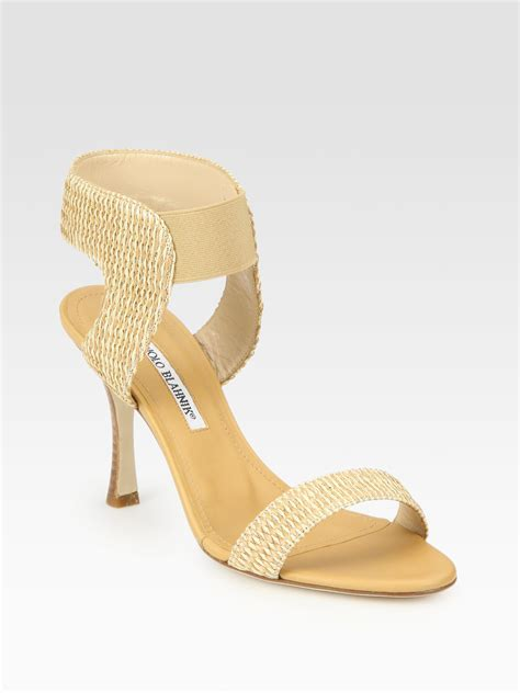 raffia sandals manolo blahnik strappy leather woven raffia sandals in