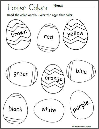 easter egg colors easter egg color worksheet madebyteachers