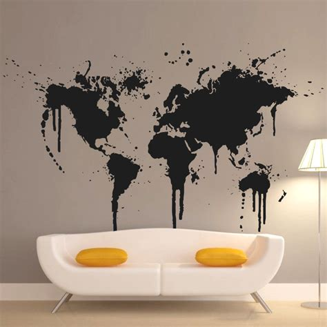 new design home decor 2015 art decor new design spray paint world map wall decal