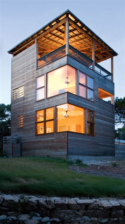 tower home architecture in wood and modern house