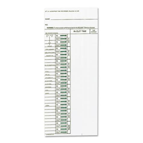 time punch card template printer