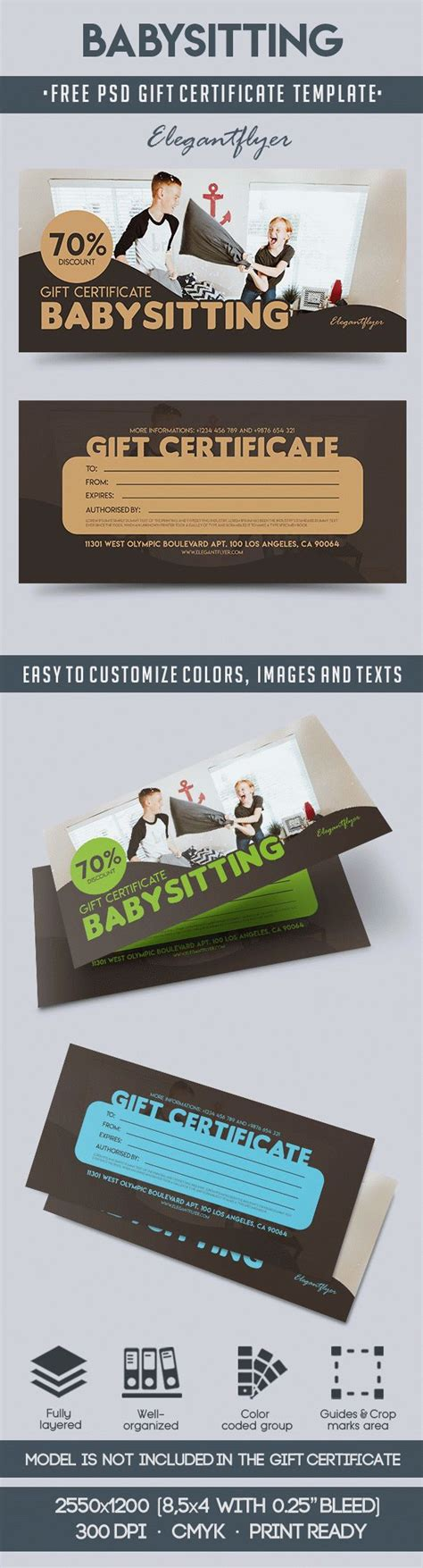 gift card template free psd babysitting free gift certificate psd template by