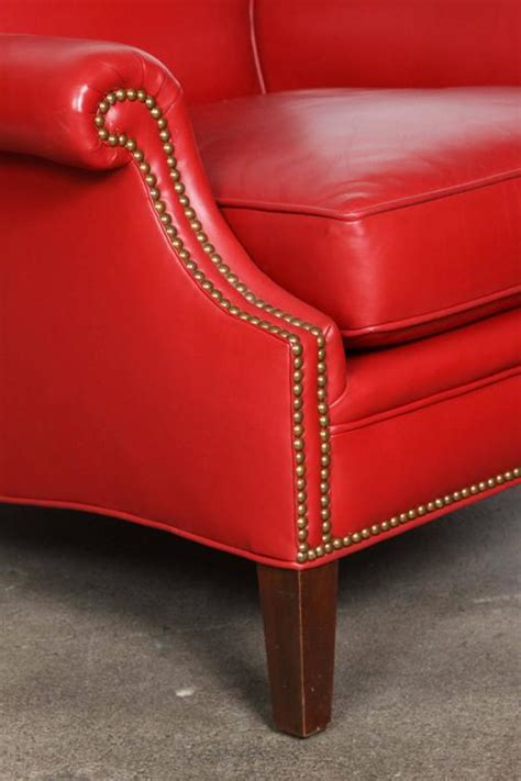red armchairs for sale pair of red leather french club lounge armchairs for sale