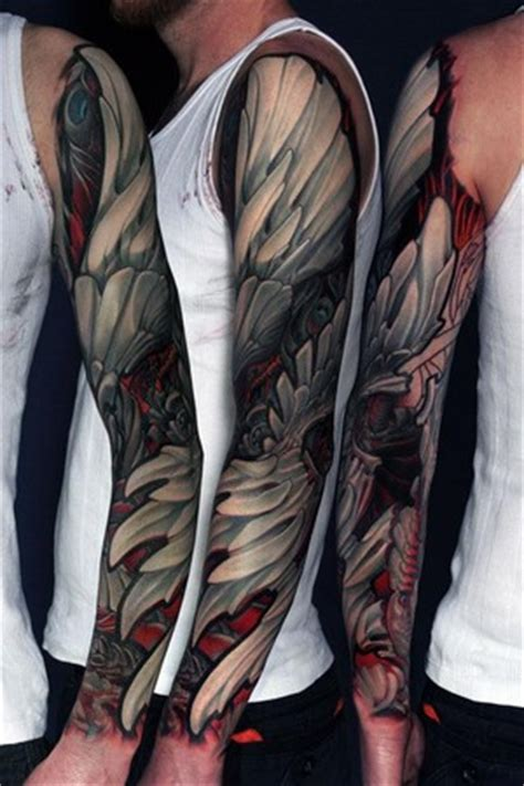 black and white angel wings tattoo designs black and white wings sleeve design of