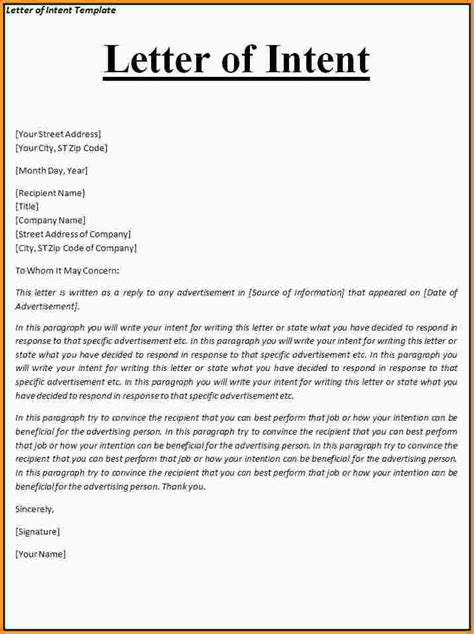 8  letter of intent example   mac resume template