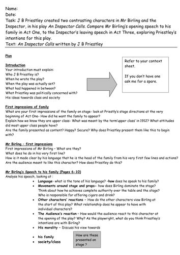An Inspector Calls Essay Questions by An Inspector Calls Essay Plan By Maz1 Teaching Resources Tes