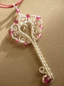 pink key pendant wire wrapped jewelry 21 00 via etsy