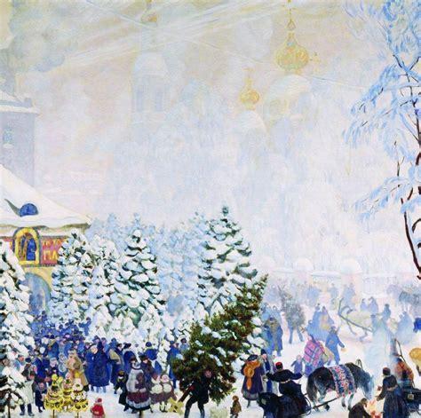 christmas tree bargain kustodiev boris wikiart org