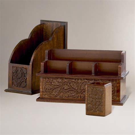 Carved Wood Desk Organizers World From Cost Plus World Wooden Desk Organizers