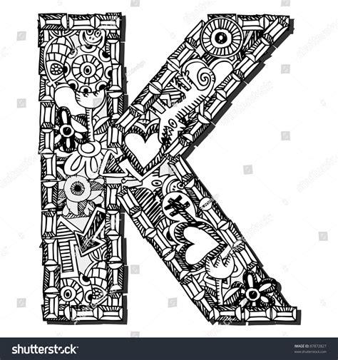 doodle huruf a z childlike doodle abc letter k isolated on white
