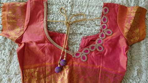 how to design clothes at home diy how to design kundan work on blouse at home