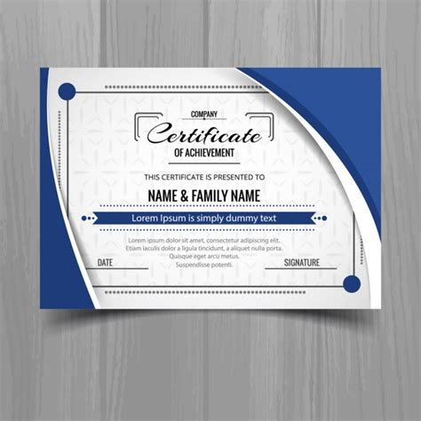 template of blue wavy certificate vector free download