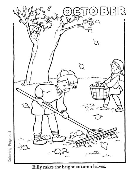 autumn coloring book page october coloring