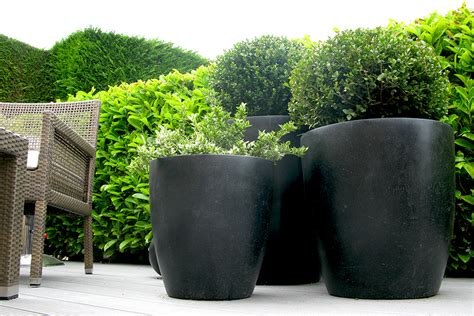 Black Garden Planters by Black Ceramic Planters Bau Outdoors