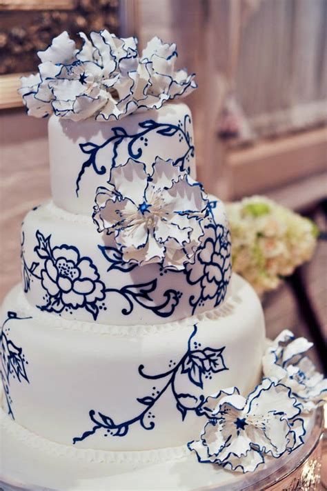 Blue Flower Wedding Cake by Wedding Cakes Pictures Blue Painted Flowers Cake