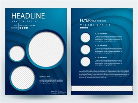 layout editor circle blue a4 brochure layout template with circle photo