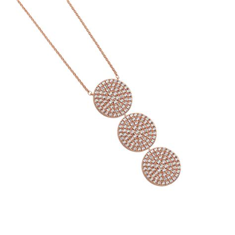 large necklace three circle cz drop gold 111240