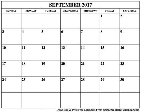 Blank Printable Calendar 2017