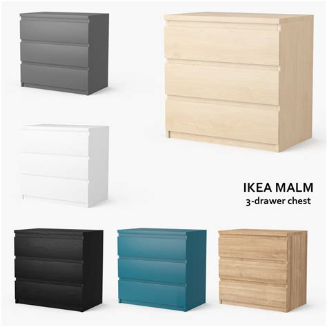 ikea malm 3 drawer chest obj