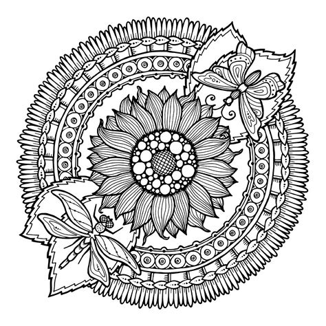 summer mandala coloring pages 48776357 circle summer doodle flower ornament