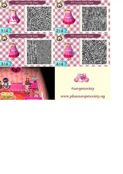 acnl ombre qr lovely pink date dress from pet society savepetsociety
