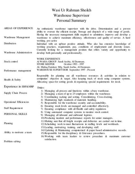 Warehouse Supervisor Resume Sles by Cv Warehouse Supervisor
