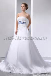 special elegant ivory and royal blue satin a line wedding