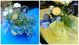 blue and gold graduation decorations graduation ideas garage pear tree