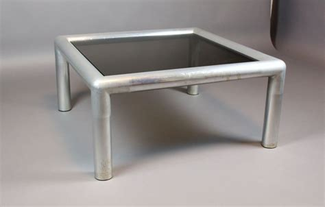 square aluminum and glass coffee table at 1stdibs