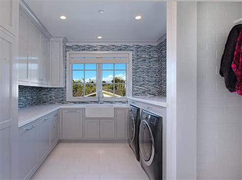 blue glass laundry room backsplash tiles design ideas