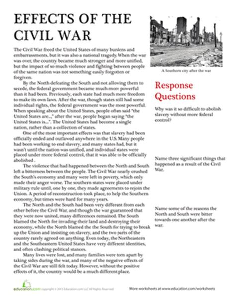 History Worksheets For High School by Effects Of The Civil War Worksheet Education