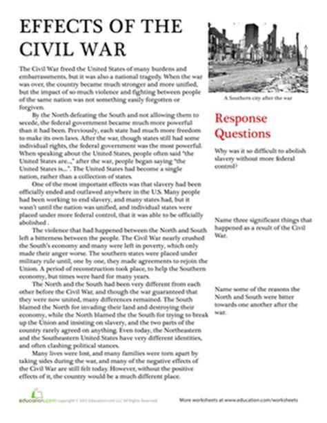 civil war worksheets 5th grade printable effects of the civil war worksheet education com