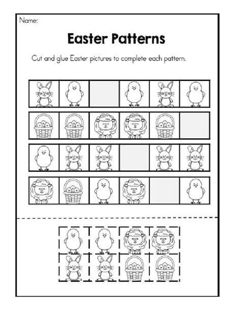 easter pattern activities easter patterns worksheet cut and glue easter pictures