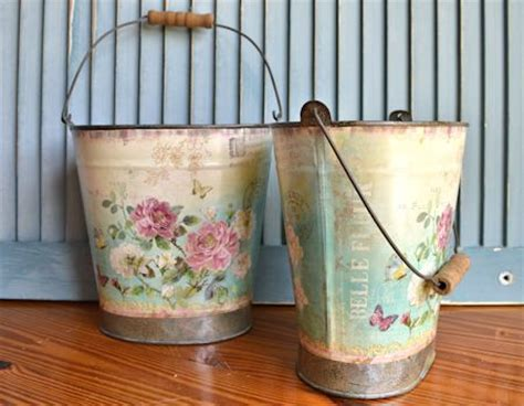 How To Decoupage Metal - surroundings by melinda decoupage tin buckets