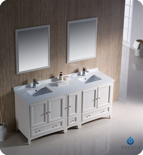 Bathroom Vanities With Side Cabinets 72 Quot Fresca Oxford Fvn20 301230aw Traditional Sink Bathroom Vanity With One Side Cabinet