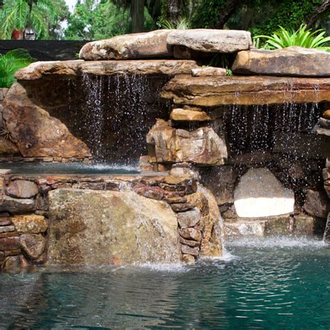 Backyard Creations Harbor Falls Before And After Images From Pools The