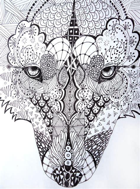 printable zen art zentangle wolf by lupinemoonfeather on deviantart
