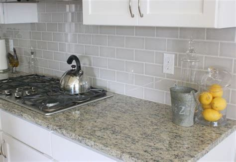 Kitchen Gray Subway Tile Backsplash A Soft Grey Subway Tile Backsplash Contrasts Nicely With