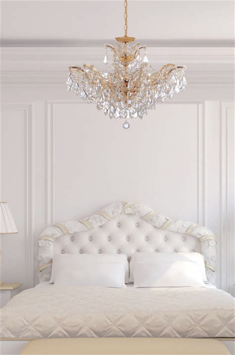 Bedroom Chandelier Lighting Theresa Gold Chandelier In White Bedroom