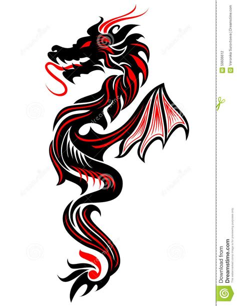 tatouage tribal de dragon illustration de vecteur image