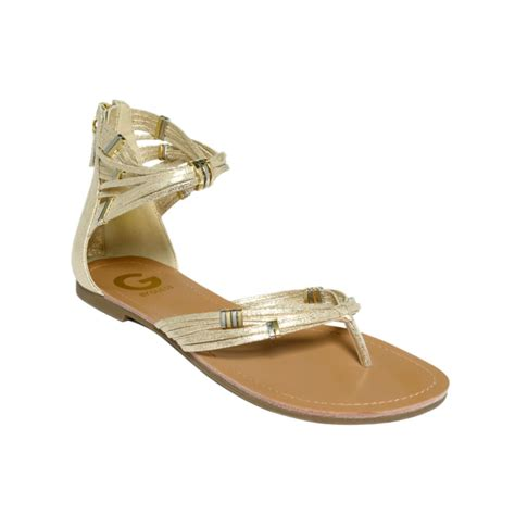 guess flat sandals g by guess lorzi flat sandals in jute gold lyst