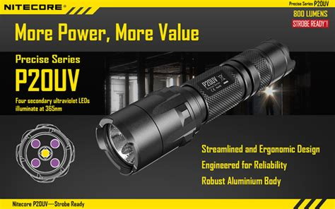 Nitecore P20uv Senter Led Uv Light Cree Xm L2 T6 800 Lumens Black nitecore p20uv senter led with uv light cree xm l2 t6 800 lumens black jakartanotebook
