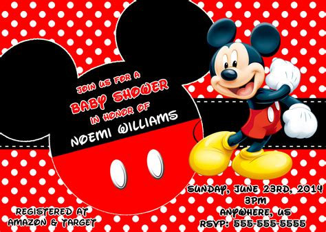 Free Mickey Mouse Baby Shower Invitation Templates by Mickey Mouse Baby Shower Invitations Www Imgkid