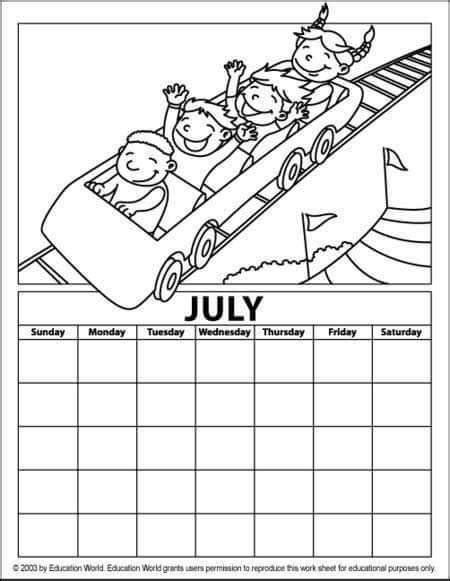 july calendar coloring page 171 funnycrafts