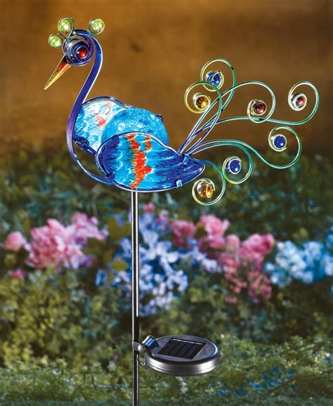 peacock lights solar lighted peacock decorative metal garden stake